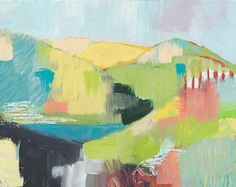 Original painting, hillside, marin hills, headlands, home decor, beach house decor, original art, fine art