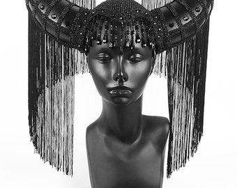 Black Crystal Horn Headdress