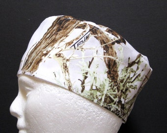 Mens Scrub Hat, Surgical Cap or Skull Cap, White Woodland Camo