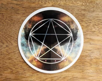 Pentagram Sacred Geometry Sticker - Vinyl Stickers, energy, crystal grid, boho, tarot, powerful, wiccan, witch,