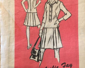 """1960's mail order pattern, drop waist, collared dress, pleated skirt , Leslie Fay M150 Size 12 34"""" bust"""