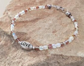 Brown bracelet, Czech glass bead bracelet, sterling silver bracelet, message bracelet, charm bracelet, gift for her, gift for wife