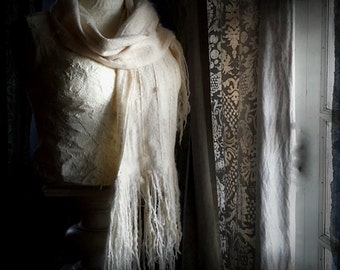 Handwoven Ivory Cream scarf pure wool wrap