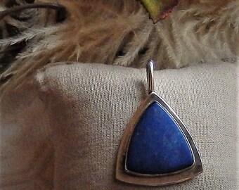 Artisan Crafted Modernist Minimalist Sterling Silver Lapis Lazuli Triangular Pendant