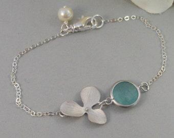 Rain Blossom,Bracelet,Aqumarine,Sterling Silver,Blossom,Flower,Blue,Silver Bracelet,Orchid,Bride,Bridesmaid. Jewelry by valleygirldesigns.