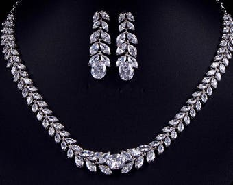Crystal Necklace and Earring Set earrings