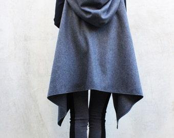 Asymmetrical Wool Hoodie/Oversize Wool Tunic/ Extra Warm Hoodie/Grey Hood Coat Jacket/Extravagant Hoody by Fraktura V0010