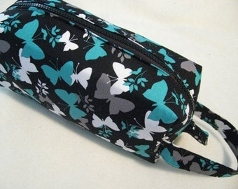 Turquoise Gray and White Butterflies Pencil Bag Craft Bag Cosmetic Bag Makeup Bag Shaving Kit LARGE
