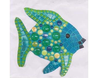 Blue-Green fish mosaic Kit / creative DIY complete Kit