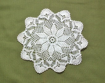 Flower Motif Vintage Crocheted Lace Doily 10 inch
