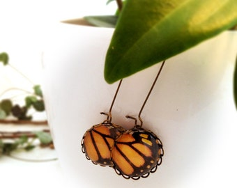 Butterfly Wings Vintage Earrings. Orange Black Butterfly Dangle Earrings. Monarch butterfly wings photography. Woodland Photography earrings