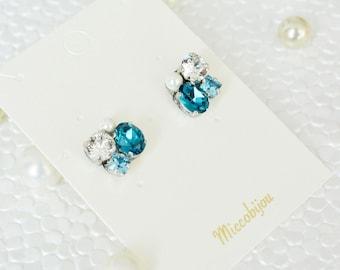 Swarovski Crystal Elements Earrings - Blue & Pearl