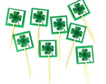 12 Shamrock Cupcake toppers. Kelly Green Irish food Picks Party Supplies - St Patrick's Day Clover - Irish Luck buffet table decoration