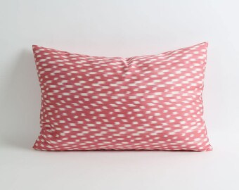 Double side dark pink and white handwoven hand dyed silk ikat pillow cover 16x24 inch