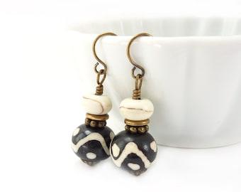 Black & White Batik Bone Earrings - Tribal Boho Earrings - Howlite Stones - Petite Dangles - Yoga Jewelry