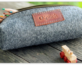 Felt  Pencil Case /Gray Pen Holder / Small Cosmetic Bag/ Crayon Holder/ Cognac Leather and Gray Felt / Students gift
