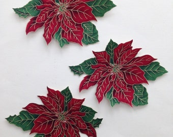 SALE*Set of Three Red Poinsettia Appliques*Gorgeous*Handmade*281