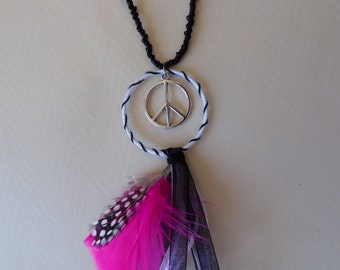 Woodstock necklace neon pink and black - Made in FRANCE