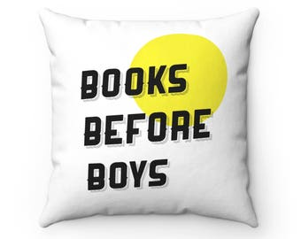 Books Before Boys Pillow, Girl Power Throw Pillow, Gift for Her, Feminist Pillow, Feminist Art, Feminist, Modern Pillow, Minimalist Pillow