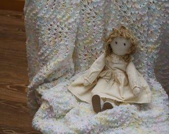 Handmade Baby Blanket /Afghan /Lap Blanket /Stroller Blanket, VINTAGE hand crocheted, multi-colored pastel, for newborn /infant /girl
