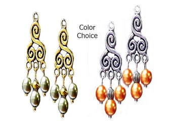 Earrings, Vintage style gold or silver chandelier and pearl, choose your color, clip on or pierced