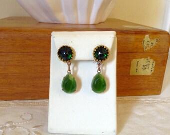 Vintage austrian green  glass clip earrings