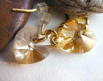 Gold Swarovski Kristall Ohrringe, Golden Shadow, Light Amber, Ohrstecker, Love, Wedding, Bridal Party, Brautjungfern