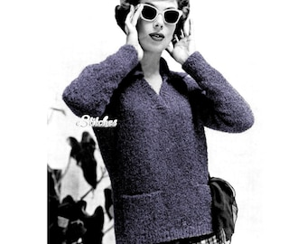 1950s V Neck Pullover Sweater with Pockets - Knit pattern PDF 0854