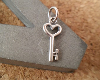 Tiny Sterling Silver Heart Key Charm, Key Charm, Lock and key, Gift for Her, Sterling Silver Heart Key Charm for Charm Bracelet or Necklace