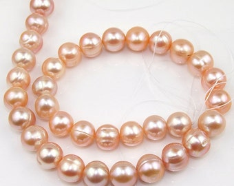 Baroque Freshwater pearl Pink Cultured Pearl 11mm Gemstone Beads Strand
