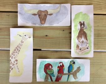 Original Aquarell. Giraffe, Longhorn, Ziege, Papagei. Kleine Wand-Kunst-Dekor.