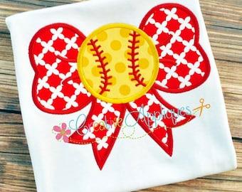 Personalized Baseball Softball Bow Applique Shirt or Onesie Girl Boy