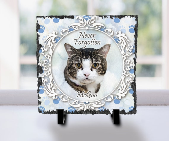Slate plaque Cat memorial gift Personalized pet loss gift
