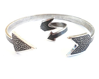 Steampunk Arrow Ring & Cuff Bracelet Gift Set  Sterling Silver Ox Finish