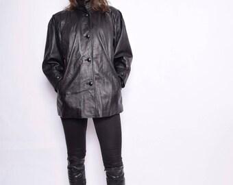 Vintage 80's Black Leather Button Jacket / Genuine Leather Black Coat - Size large