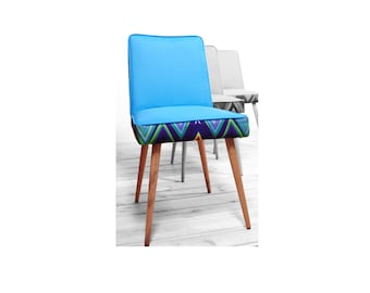 vintage refurbished warm blue zigzag chair from 1970'