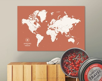 Push Pin Map (Terra) Push Pin World Map Pin Board World Travel Map on Canvas Push Pin Travel Map Personalized Wedding/Anniversary Gift