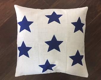 Blue star-pillow cover