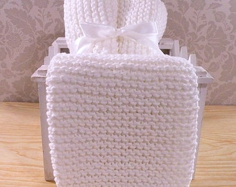 White Hand Knit Dishcloths - Set of 3