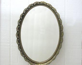 Vintage Vanity Mirror Gold Tone Filigree Oval Dressing Tray Wall Mount Vanity Mirror