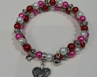 AVBeads Memory Wire Bracelet Beaded 2-Layer Wrap with Charms Valentine's 3