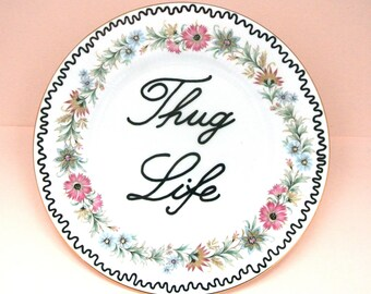 Thug Life Ornamental Vintage Floral Plate Pink Decorative Gangster Display Dish Hiphop Ironic Decoration Bone China Funny Gift Ring Holder