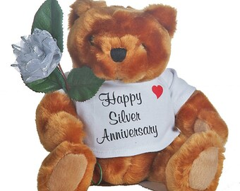 "25th ""silver"" Anniversary Teddy Bear"