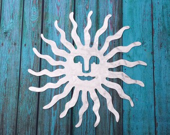"Sun, metal wall hanging for indoor or outdoor, aluminum, large 32"" diameter"