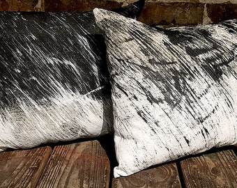 Abstract Art Pillow - Hand-Painted on Canvas