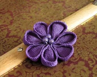 purple kanzashi tsumami flower hair accessory hairclip