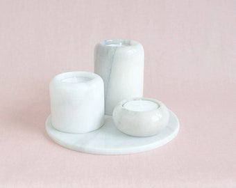 Set of 3 Marble candleholders // Marble Plateau // Mid Century Home Decor