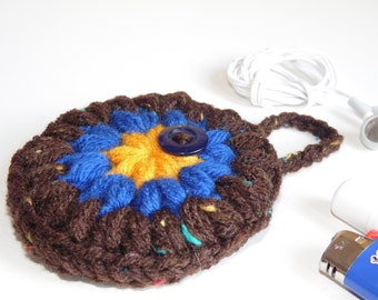 Headphones case, Puff Pocket, Purse pocket, Stash bag, Brown, Blue, Gold