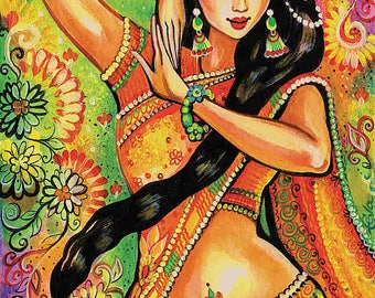 feminine beauty bollywood dance Indian decor beautiful Indian woman painting belly dance art gift, poster woman wall print 8x11+