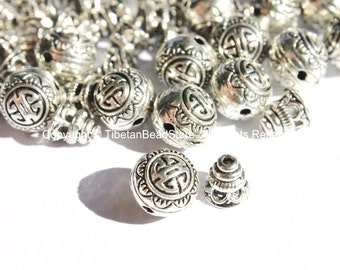 3 Sets -  Light Weight Tibetan Silver 3 Hole Guru Bead Sets - Guru Beads - Mala Making Supplies - GB42-3